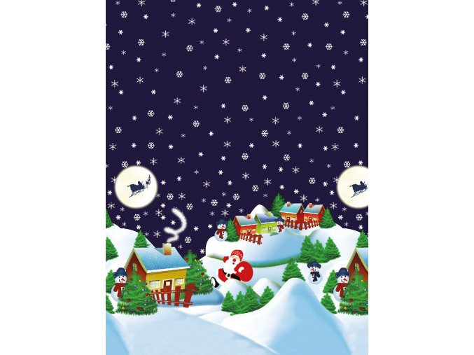 vánoční PVC ubrus, vše skladem, santa, vesnice modrý