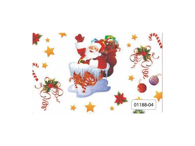 pvc vánoční ubrus, plastové pvc ubrusy, vše skladem, Děda Mráz v komíně, bílý