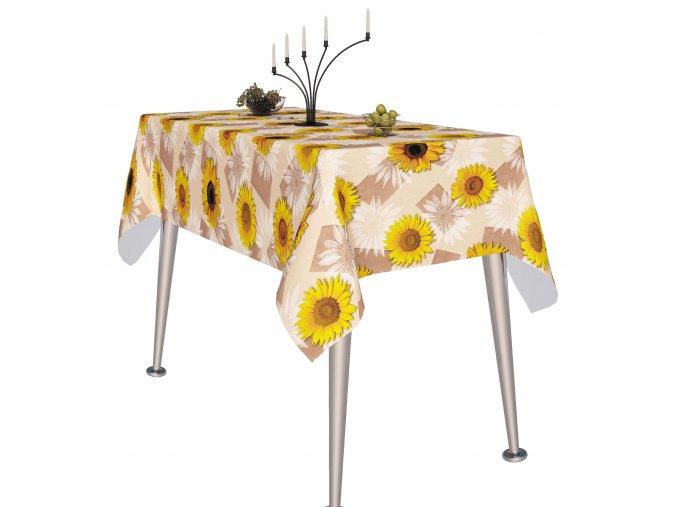 slunečnicový pvc ubrus Fantastik 750-3 béžový podklad