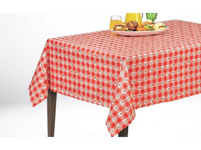 PVC ubrus Florista 1274-01, kostky třešně, červený Sareha