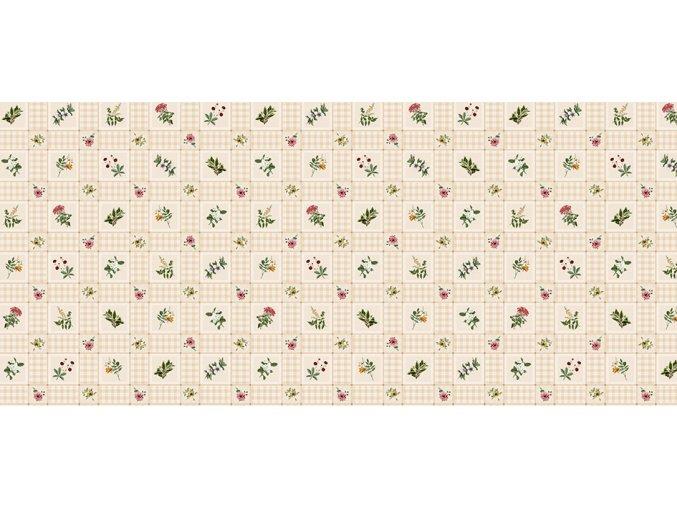 pvc ubrus kostky a květy, Florista 1326-01 béžový