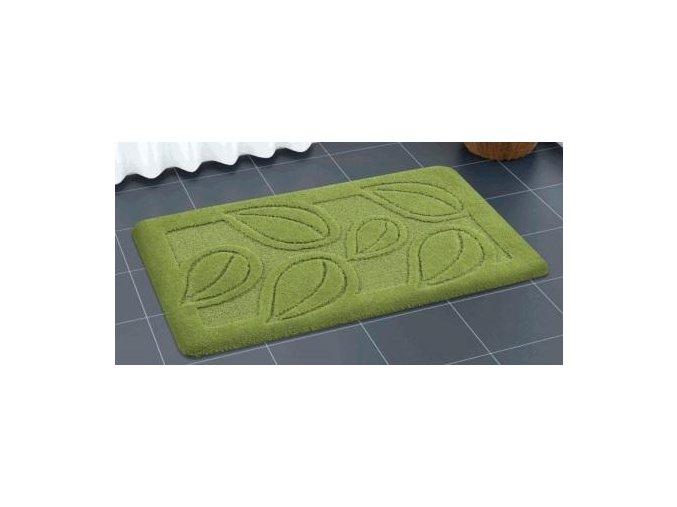 Předložka do koupelny zelená, listy Sareha, protiskluzová