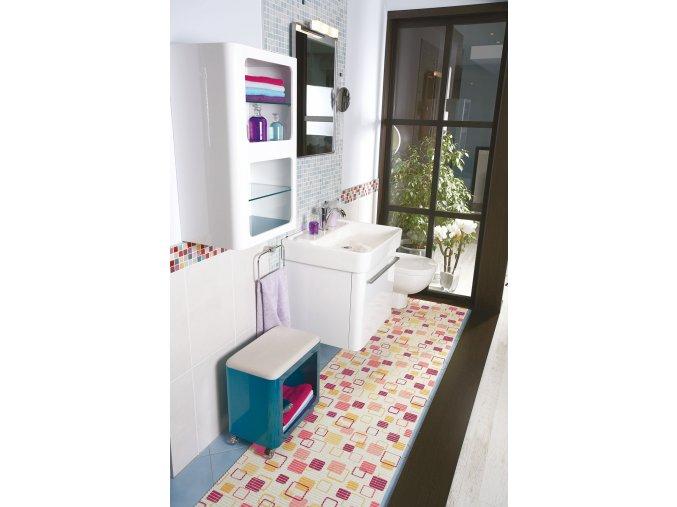 pěnová předložka do koupelny, pvc, čtverce 466-1,Saeha