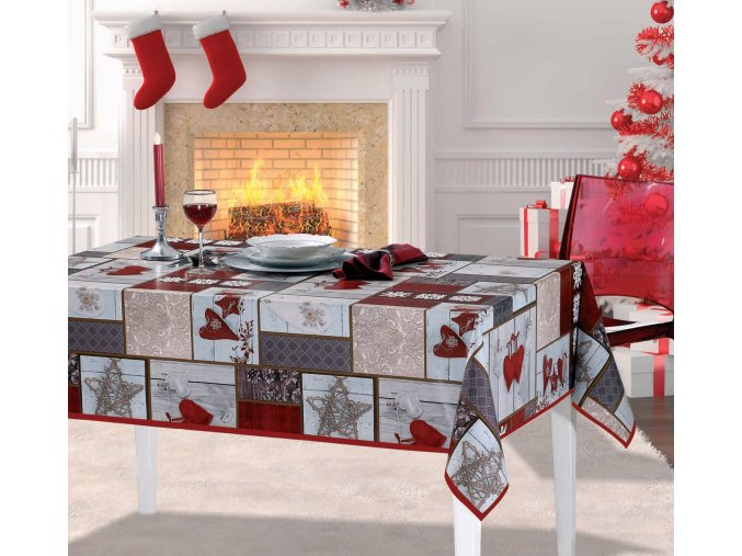 Moderní vánoční PVC ubrus, srdce, dřevo - šedý, červený 6033