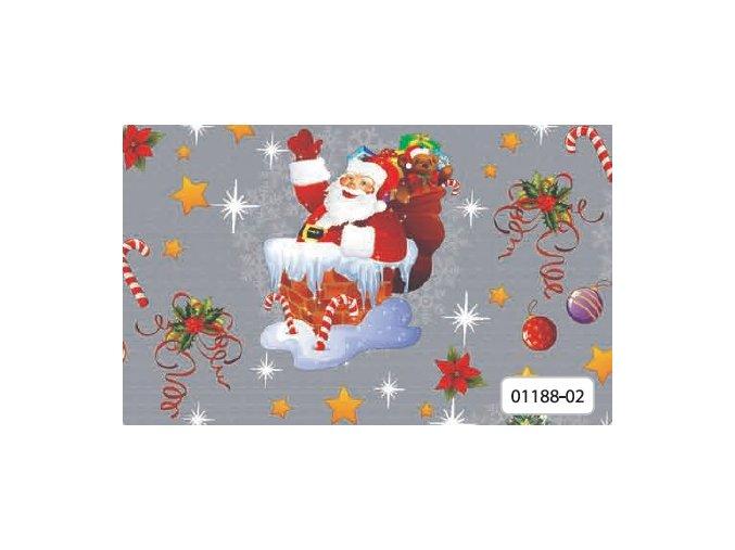 pvc ubrus vánoční, santa claus v komíně, snadná údržba