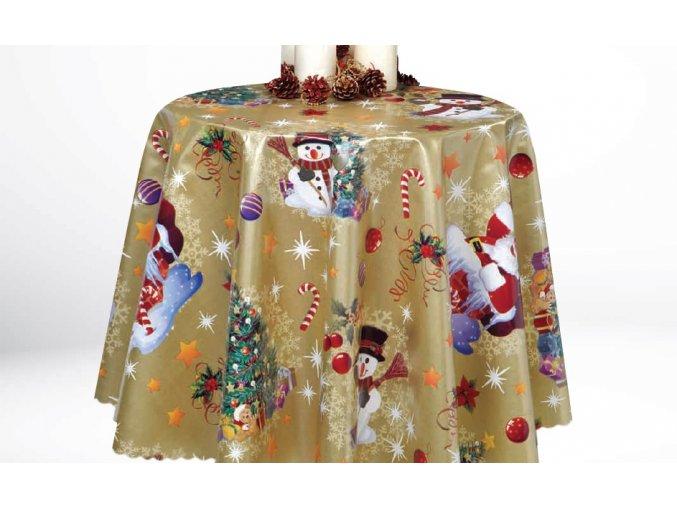 vánoční pvc ubrus Děda Mráz v komíně, kvalita, vše skladem, zlatá