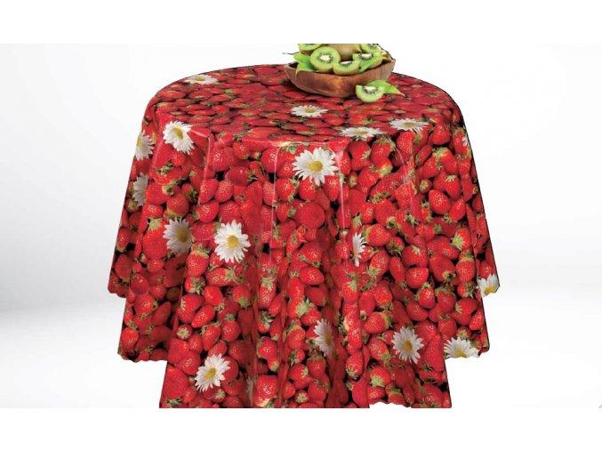 pvc ubrus s textilním podkladem červený, jahody, protiskluzový Sareha