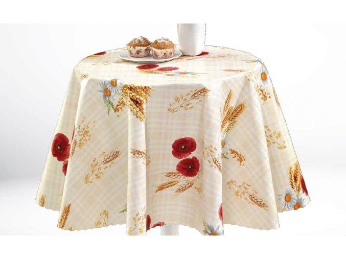 pvc ubrus s textilním podkladem omyvatelný, Sareha, mák, klas