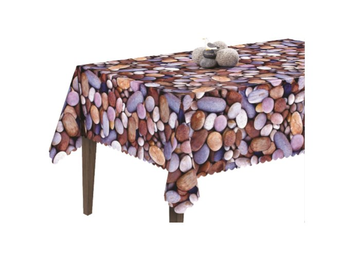pvc ubrus omyvatelný s textilním podkladem Sareha, kameny