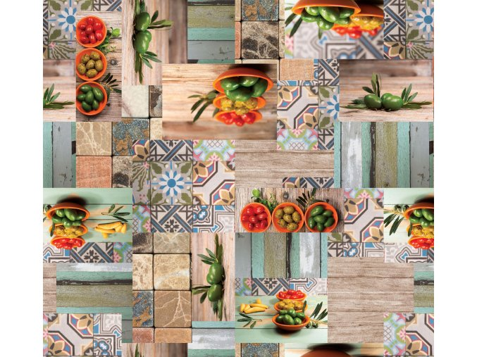 pvc ubrus omyvatelný s textilním podkladem, Sareha, mozaiky, olivy 251-1
