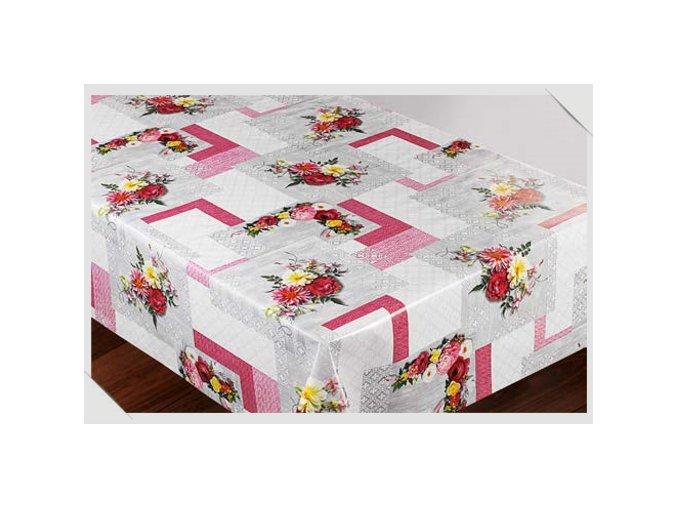 omyvatelný ubrus, pvc ubrus s textilním podkladem, kostka, květy 1057