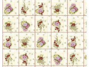 PVC igelitový plastový ubrus Fantastik 625-1 květy v kostkách