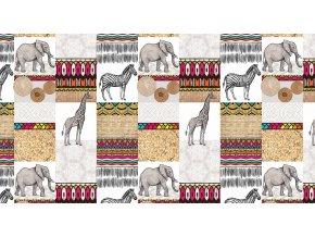slon, žirafa, zebra na pvc ubrusu