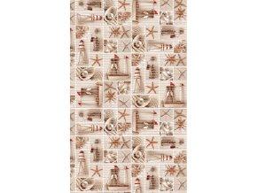 Pěnová předložka do koupelny, kuchyně - PVC - 593-1 hvězdice, perla,maják - hnědá