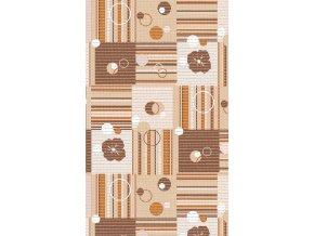 Pěnová PVC předložka - aquamat - 411-1 - čtverce, kola, čáry, květy - hnědá