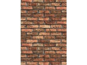 Pěnová PVC předložka - do koupelny, do kuchyně - 32-1 - cihlová zeď - červená