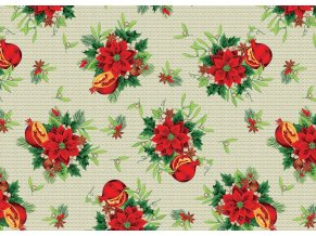 vánoční PVC ubrus, plastový ubrus vánoční, granátové jablko, vánoční růže - sareha - vše skladem