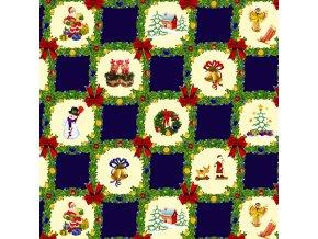 vánoční pvc ubrus, tradiční vzor, vše skladem, sareha, modrý
