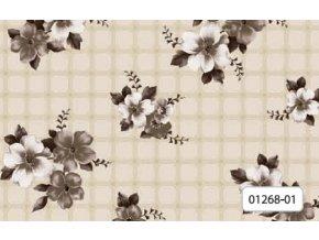 Omyvatelný 100% PVC ubrus, florista 1268-01 hnědý, květy kostka, Sareha