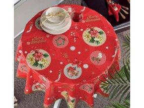 Vánoční pvc ubrus Sareha, Moderno 6074, červená