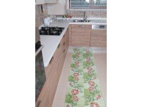 Pěnová koupelnová předložka 4001 Nese pnoucí květy zeleno-červená
