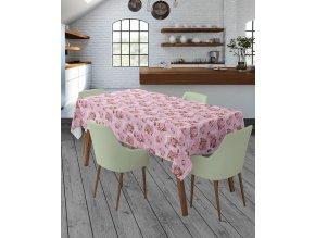 PVC ubrus Fantastik 1018-01 květy, váleček růžový