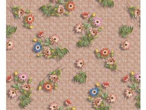 Ubrus pvc Colibri c64-2 květiny a ratan, sareha