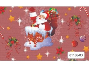 pvc vánoční ubrus, plastové pvc ubrusy, vše skladem, Děda Mráz v komíně, červený