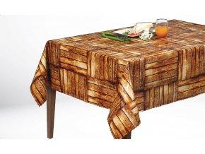 pvc ubrus s textilním podkladem, dekor dřevěné podlahy, Sareha, hnědý