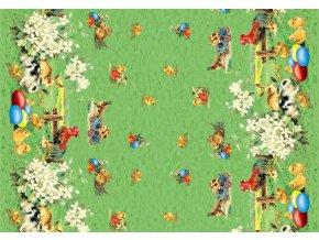 Velikonoční PVC ubrus Sareha, 614-1 s textilním podkladem, veselý