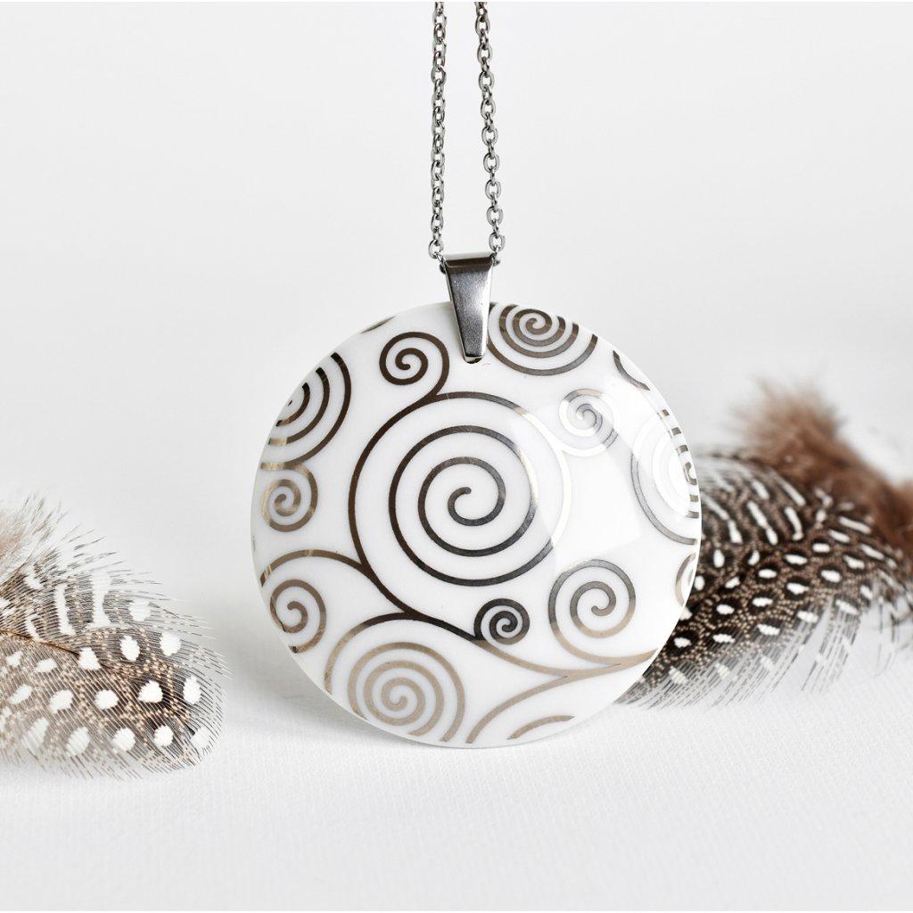 porcelánový náhrdelník Spirála