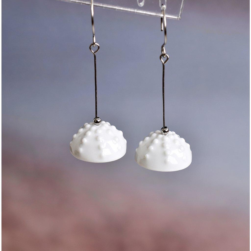 bílé porcelánové náušnice