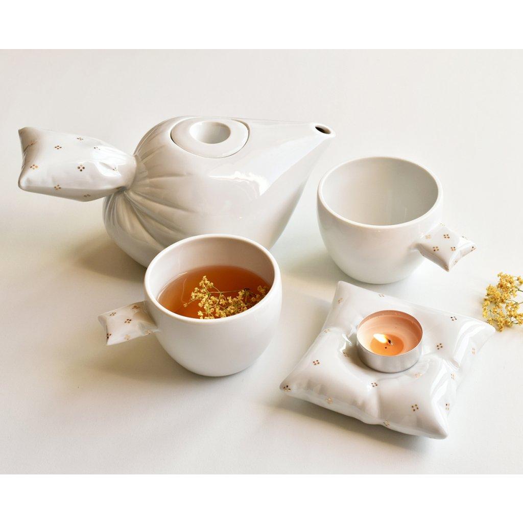 Peřinkový čajový set, SarkaS porcelán