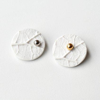 porcelánové brože se zlatem