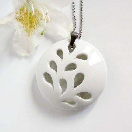 White Flower porcelánový náhrdelník