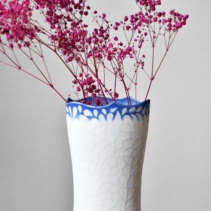 porcelánová váza modrobílá