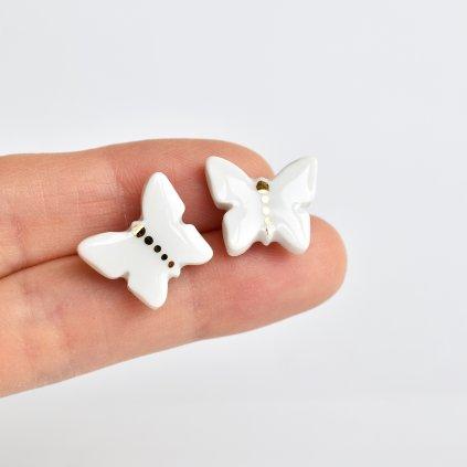 porcelánové náušnice motýli