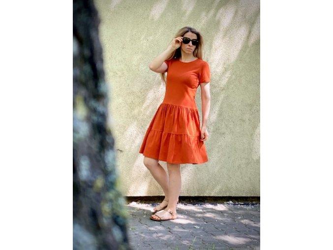 Riasené šaty CHIC orange