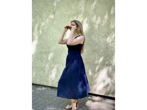 Mušelínová sukňa tmavomodrá/čierna (BIO)