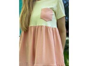 Riasené šaty bledoružovo vanilkové