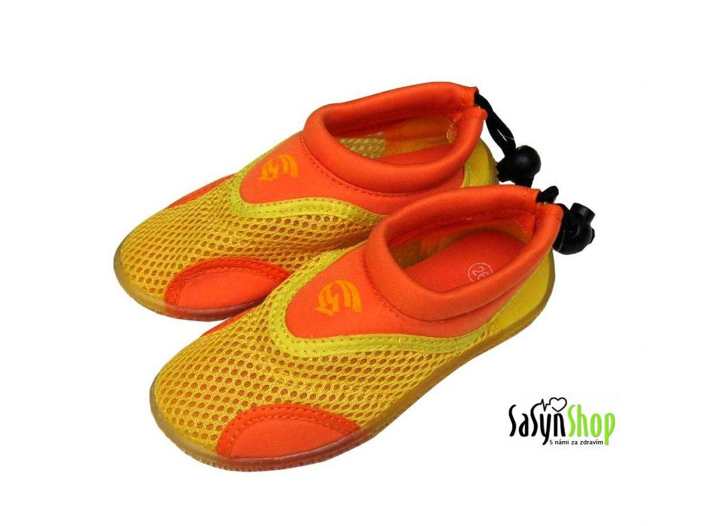 Dětské neoprenové boty do vody Alba, žlutooranžové