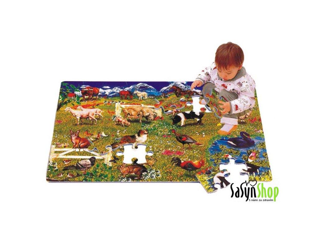 Pěnové puzzle Domácí zvířátka, 60x90x1,2 cm, 54 ks