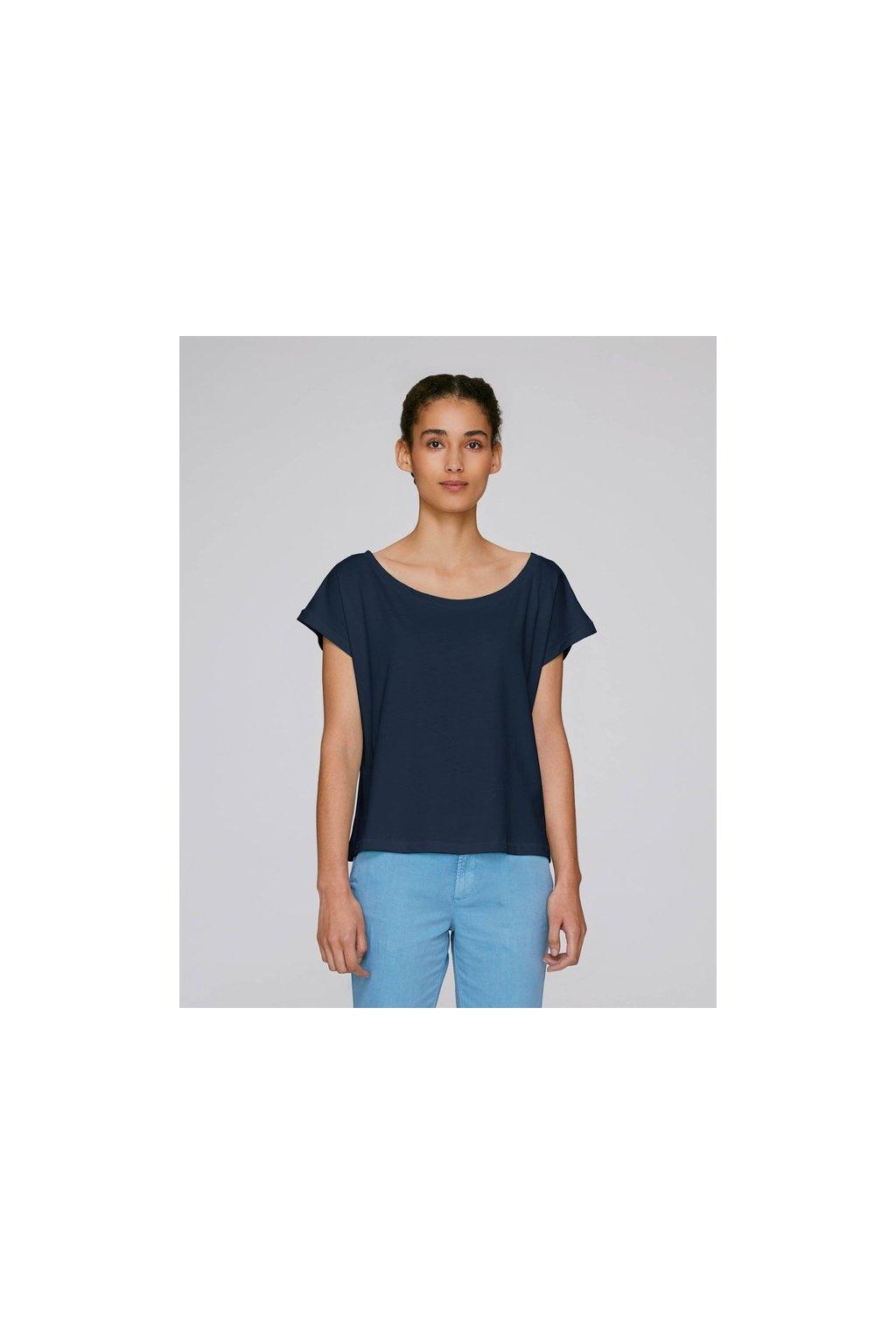 Bavlněná dámská tričko FLIES Tmavě modrá Navy