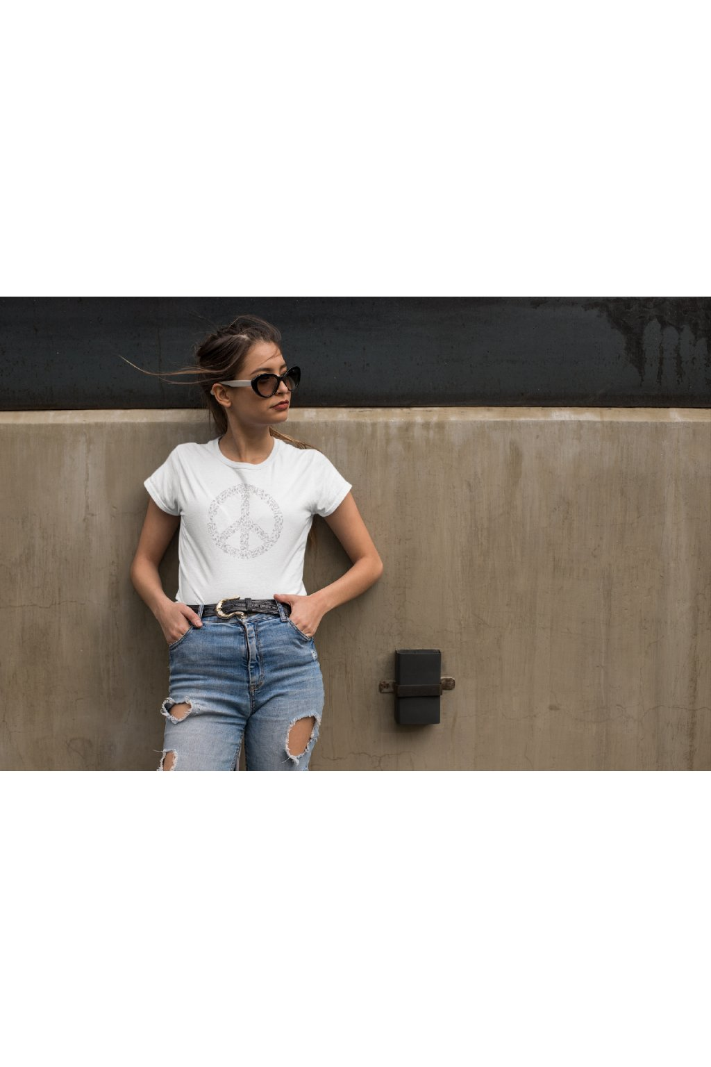 t shirt mockup featuring a cool young woman wearing high rise jeans 24640