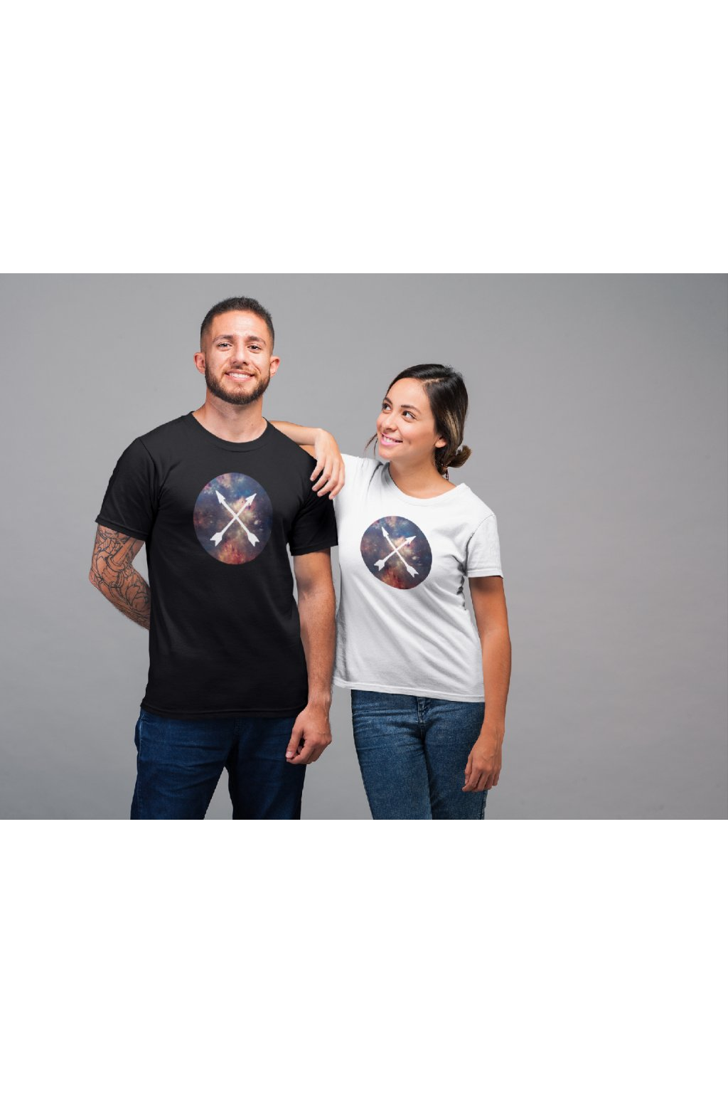 t shirt mockup of a woman smiling at a man 22348