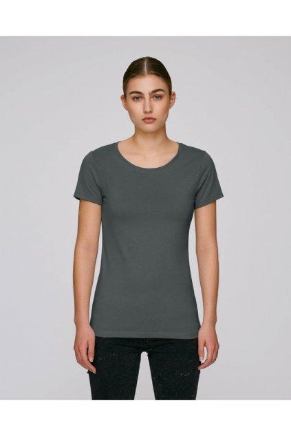 Bavlněná dámská trička LONG Antracite