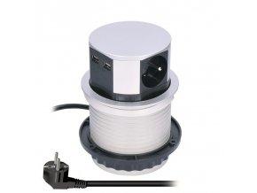 Zásuvka výsuvný blok Solight PP100USB, 3x230V, 2x USB