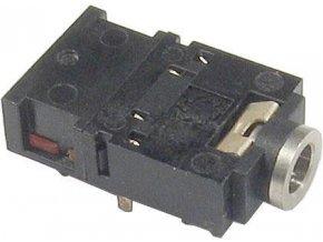 JACK zdierka 3,5 stereo do plošného spoja, 2x prepínací kontakt