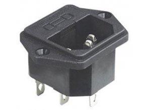 Sieťová zásuvka IEC60320 230V na panel s poistkovým puzdrom / AS07 /