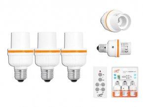 Diaľkovo ovládané objímka žiarovky E27 3x + ovládač, LTC